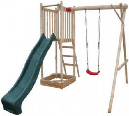 Houten speeltoestel speeltoren 360x360x225cm