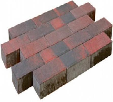 Betonklinker sierbestrating rood/zwart, 21x10,5x7cm, per m2