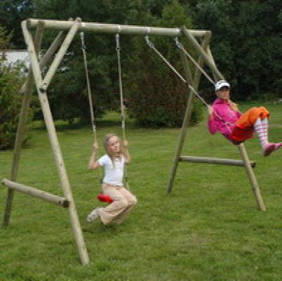 Houten schommel houten speeltoestellen dubbel Max compleet
